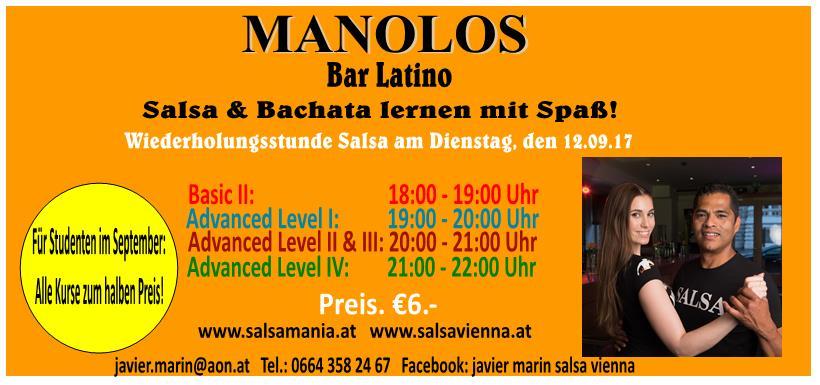 Wiederholungsstunde Salsa, am Dienstag, den 12.09.17  Preis: €6.-