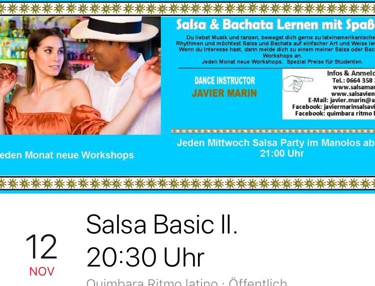 Salsa Basic II Ab Montag, 12.11.18 ab 20:30 Uhr